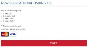 NSW Government recreational fishing licence fee portal